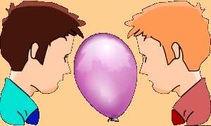Two boys holding a balloon between their heads